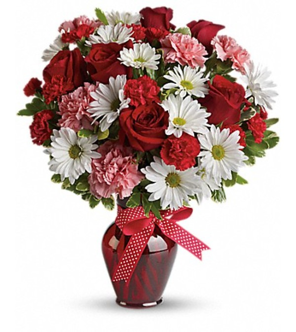Rose, Daisy and Carnation Assortment in Red Vase