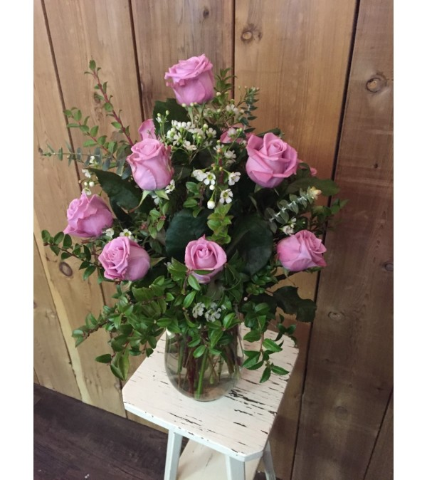 12 Pink Roses Arranged