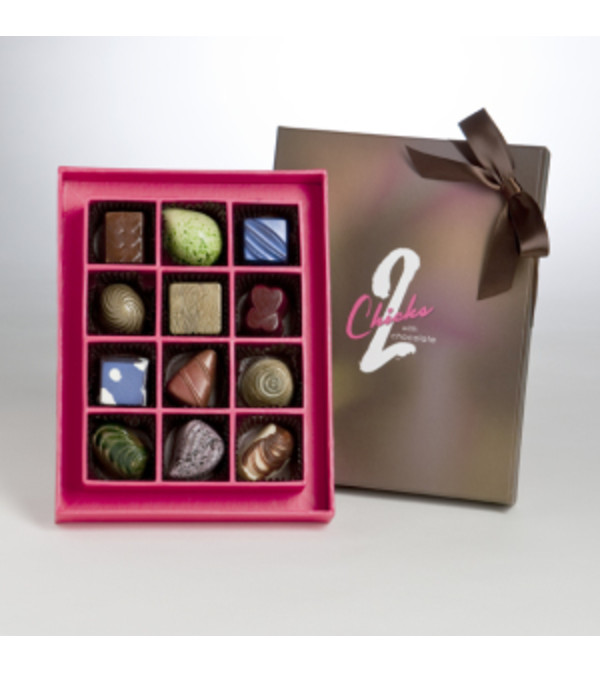 2 CHICKS WITH CHOCOLATE 12 PIECE BOX
