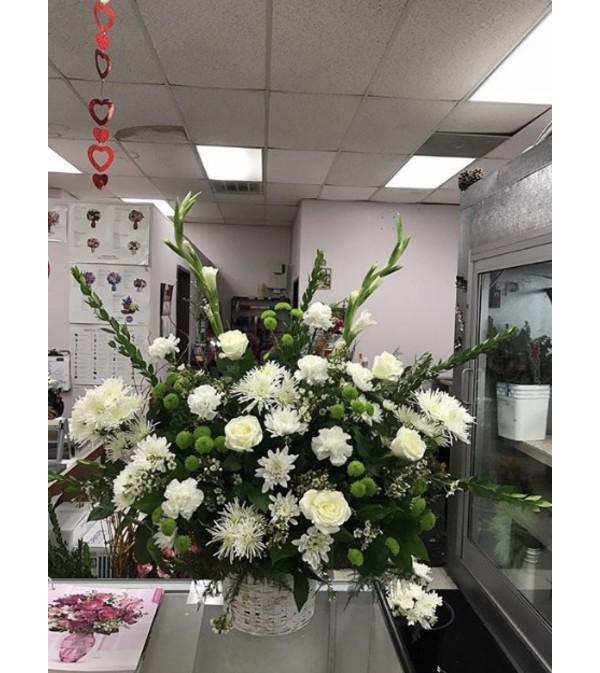 White funeral basket