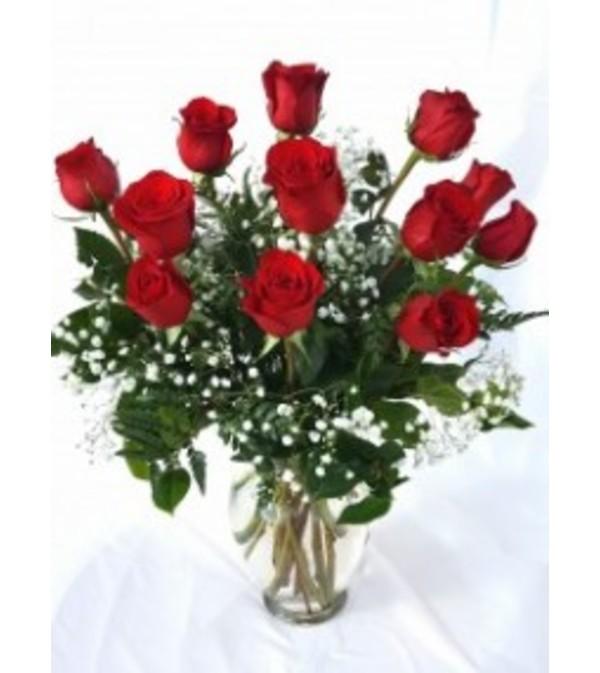 Radiant Dozen Red Rose Vase