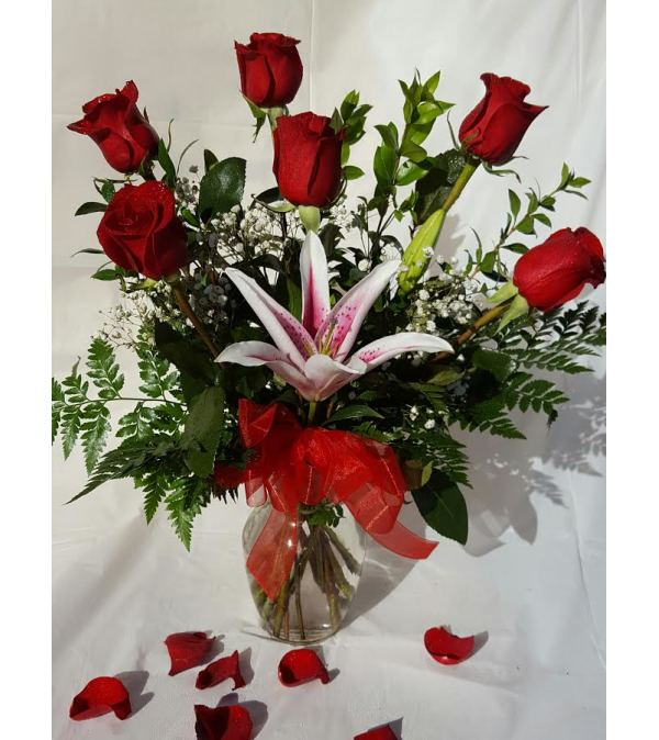 6 Red Roses & Lily Vase