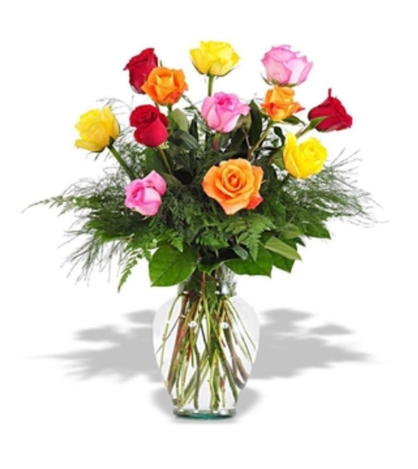 Dozen Mixed Colored Roses