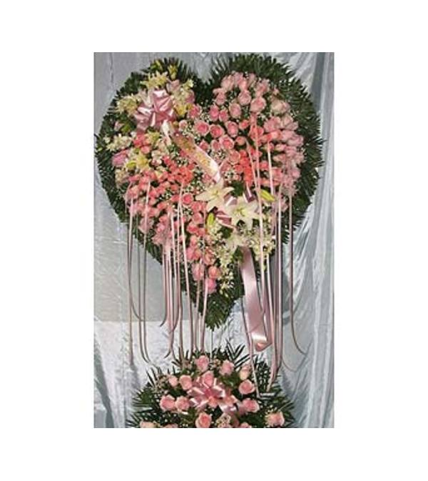 Bleeding Heart Pink Roses with White Lillies  GF-H8