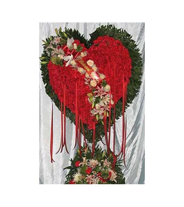 Bleeding Heart Red Roses with White Lillies