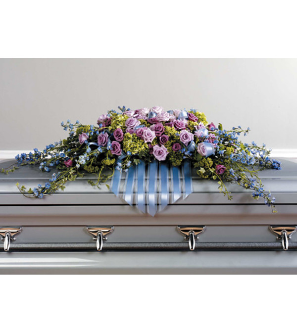 Delphinium and Lavender Rose Casket Spray SF22-11