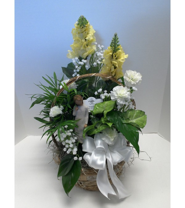 """8"""" Planter trimmed with silk flowers, a bow and a Willow Tree Ang"""