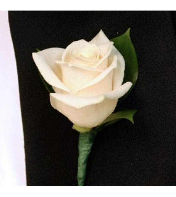 WHITE ROSE BOUTONNIERE FOR LAPEL