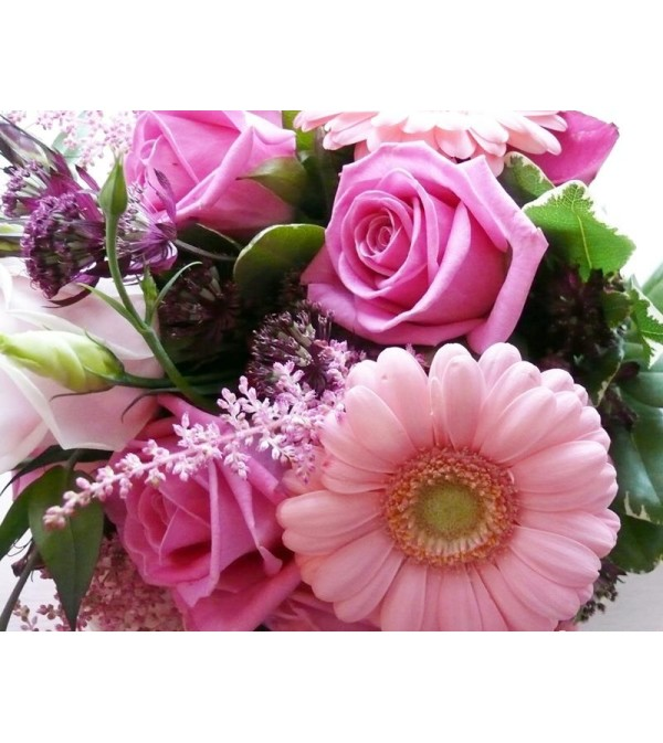 ASSORTED PINK FLOWERS ARRANGED
