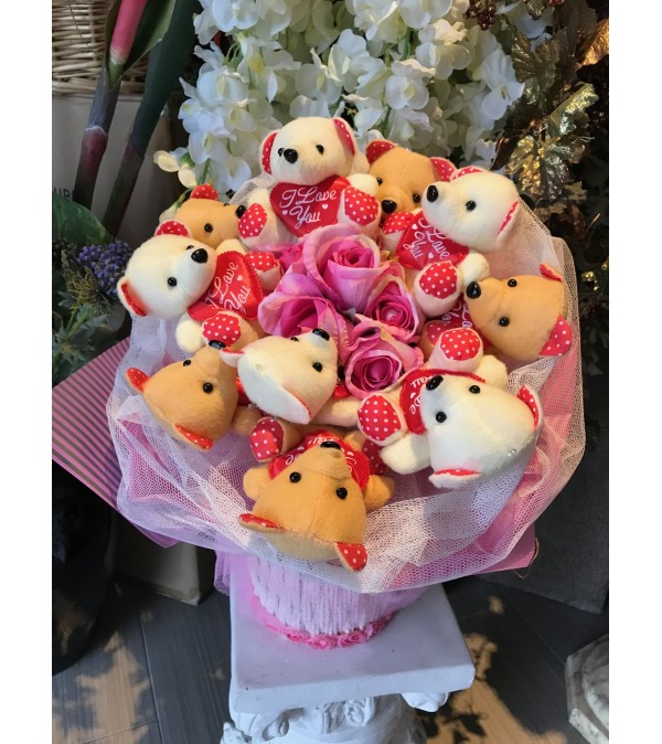 Supper Love You Teddy Bears Bouquet - Markham, ON Florist