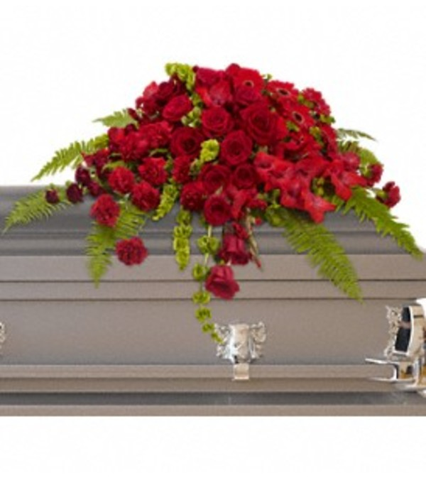 Red Rose Sanctuary Casket Spray - by Jennifer's Flowers