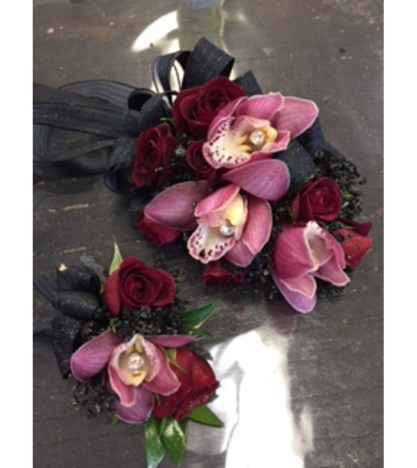 red rose & cymbidium orchids corsage and boutonniere2