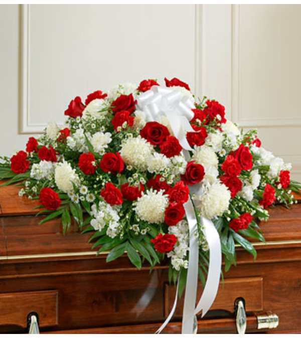 Red and White Casket Spary