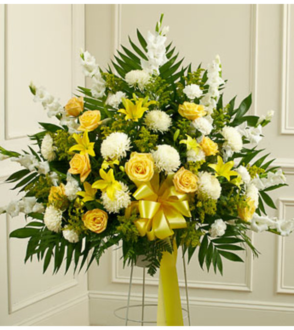 Yellow and White Standing Basket