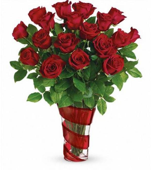 Swirling Hearts Vase With Red Roses