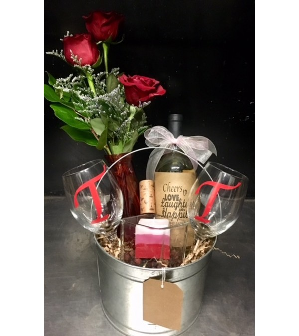 Blooms and Wine by Candlelight Bucket