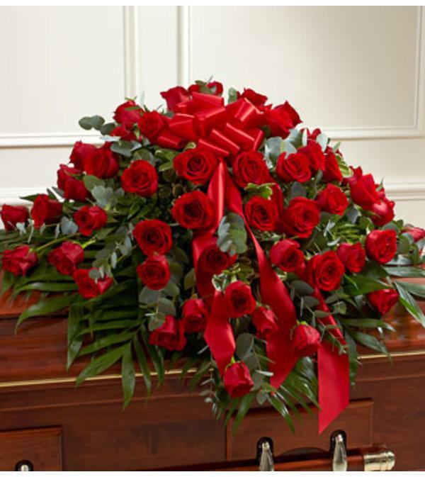 Half Casket Cover Red Rose