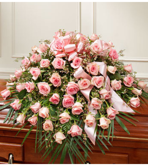 Half Casket Cover Pink Rose