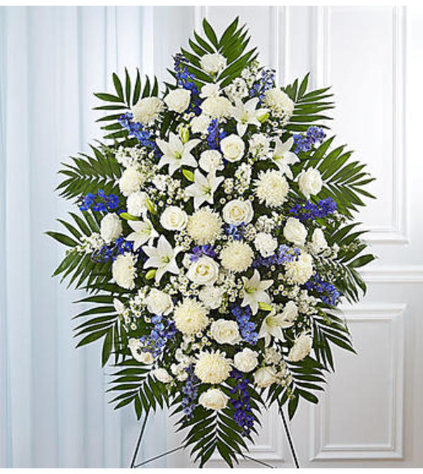 Standing Spray Blue & White Sympathy