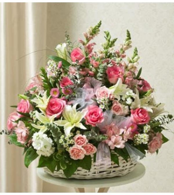 Pink and White Sympathy Basket