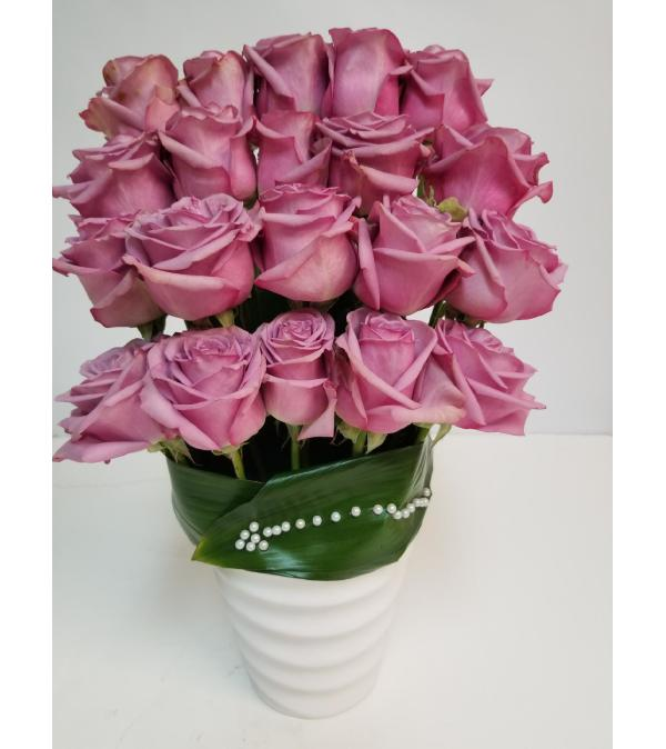 24 Roses In Modern Vase Brickell Fl Florist