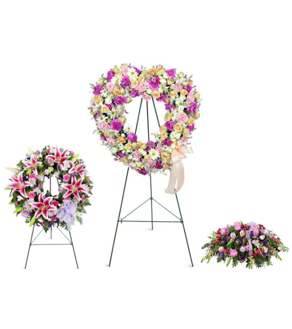 Pink and white funeral package