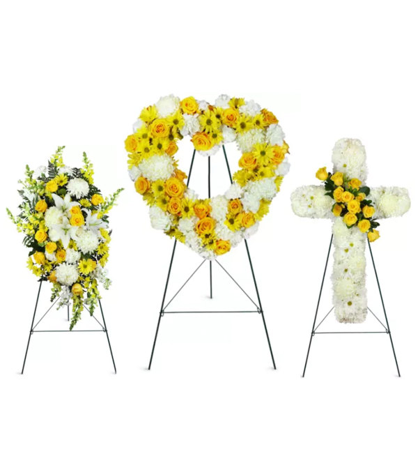 Yellow and white funeral package