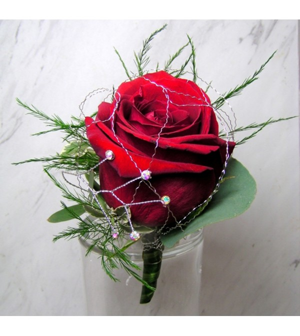Red Rose Boutonniere with Rhinestone