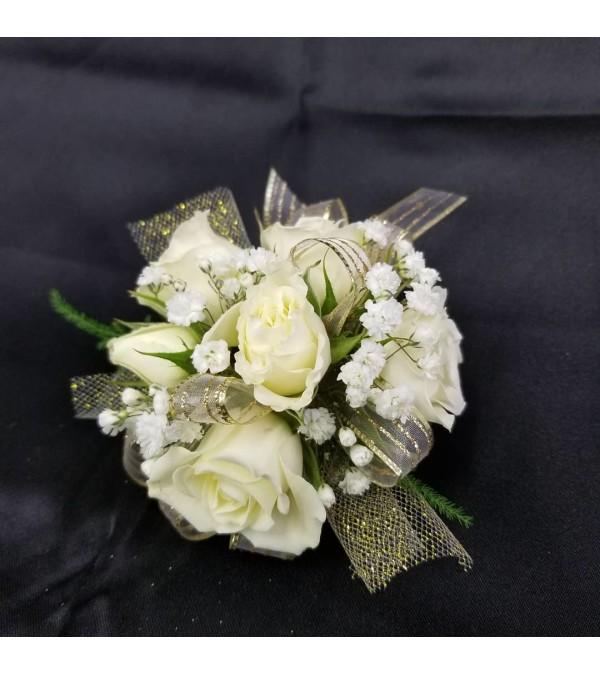 White rose elegance corsage