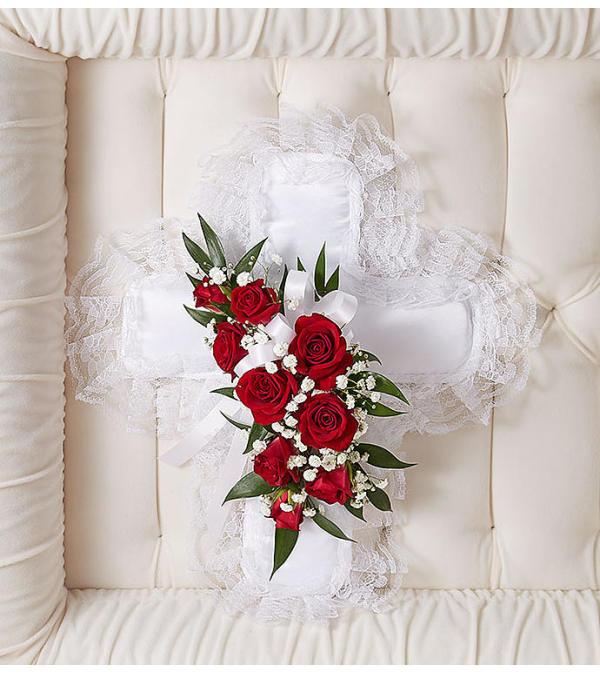 Satin Cross Casket Pillow Red