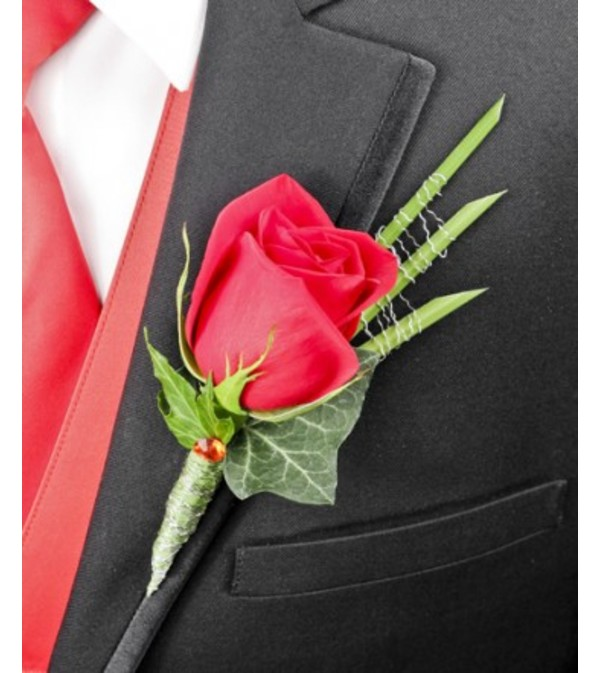 ROMANTIC RED ROSE BOUTONNIERE