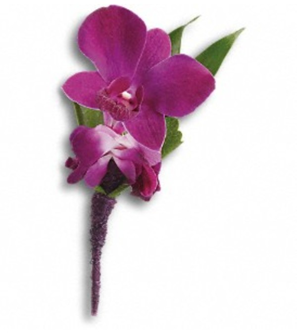 The Purple Orchid Boutonniere