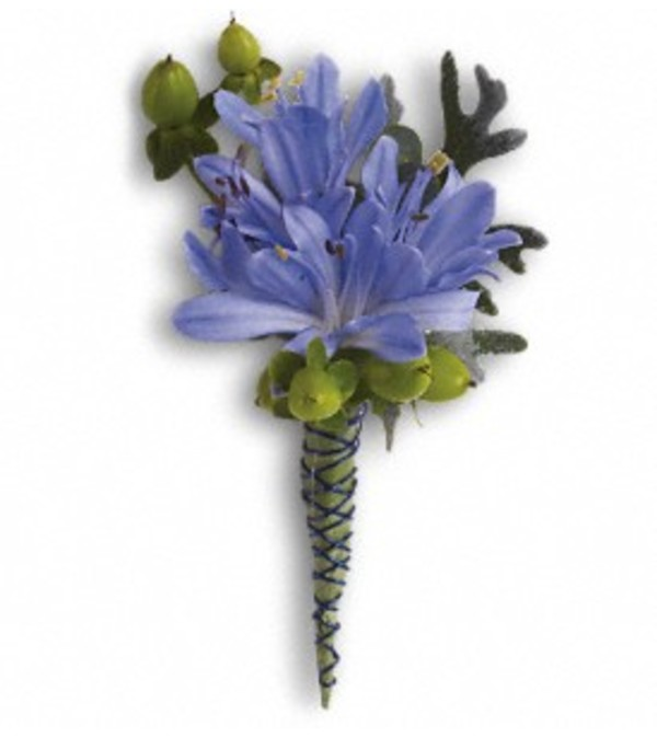 Bold in Blue Boutonniere