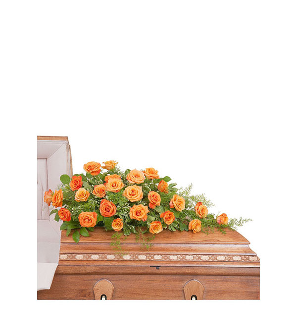 Orange Roses Casket Spray DW