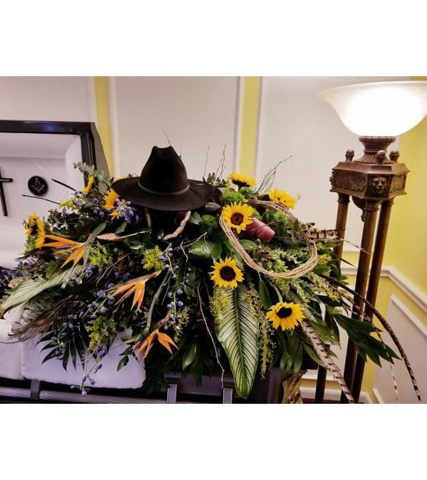 Farewell cowboy casket cover - Pasadena, TX Florist
