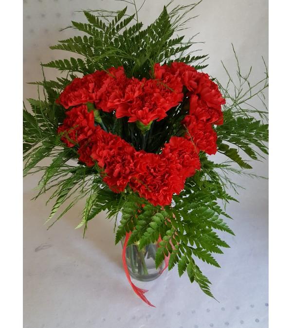 Heart Shaped Vase Bouquet