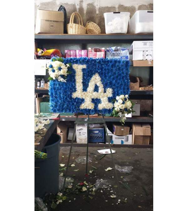 LA Dodger funeral spray