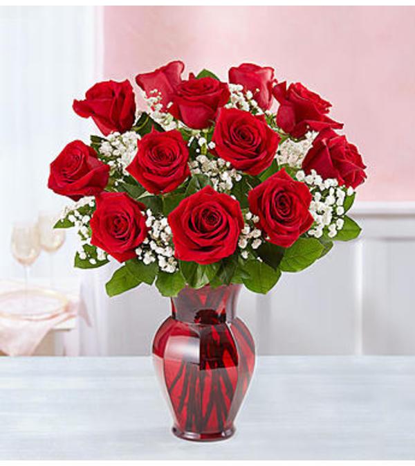 Red Roses One Dozen in Red Vase