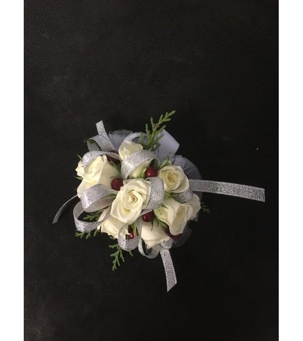 white berry corsage