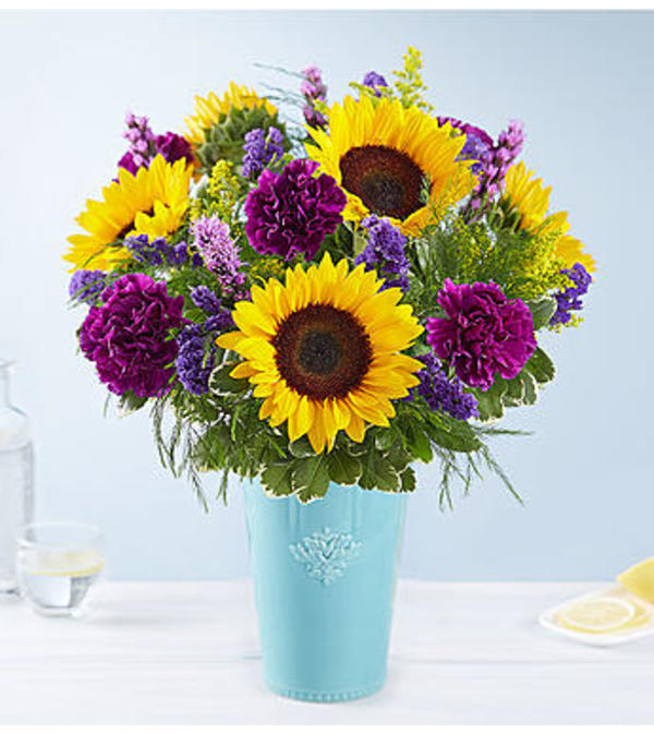 The Golden Sunflowers in Rustic Charm Vase