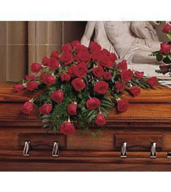 Blooming Red Rose Casket Spray
