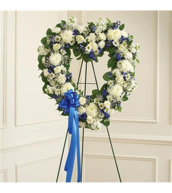 Blue & White Standing Open Heart