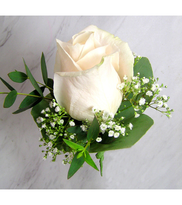White Rose Boutonniere with Baby's Breath