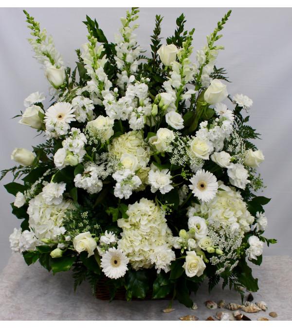 Select White Seasonal Flower Basket