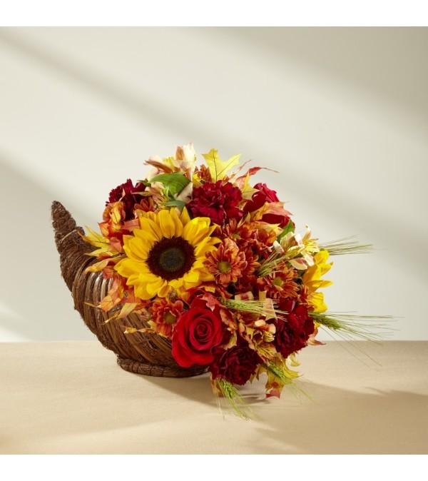 Fall Harvest Cornucopia with Sunflowers