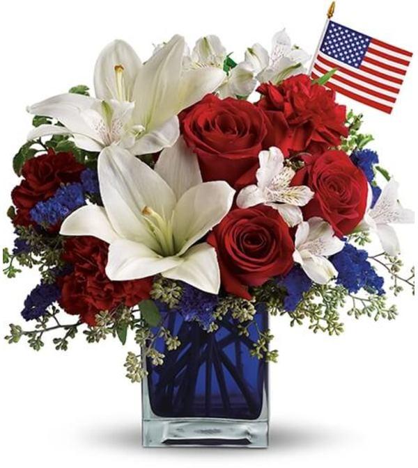 Patriotic Blue Cube Bouquet