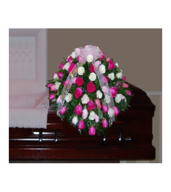 RED ROSES AND BABIES BREATH CASKET SPRAY