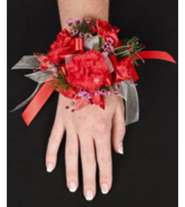 Crimson Carnation Wrist Corsage