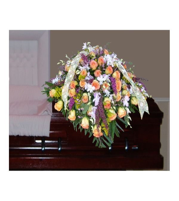 CASKET OF YELLOW ROSES, ORCHIDS, AND MIXED FILLERS