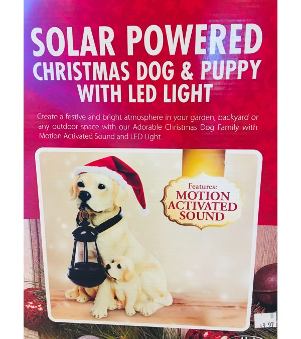 Adorable Christmas Dog & Puppy w. LED Light (Motion Activated)